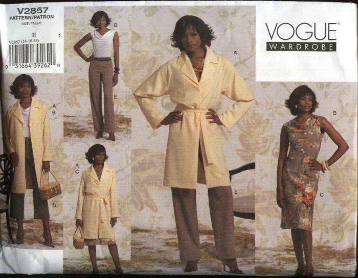 Vogue Sewing Pattern 2857 Misses Size 14-16-18 Easy Wardrobe Top Skirt Pants Jacket