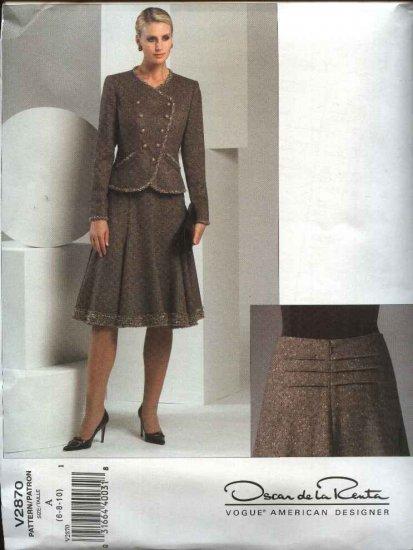 Vogue Sewing Pattern 2870 Misses size 12-14-16 Suit Jacket Flared Skirt Oscar de la Renta