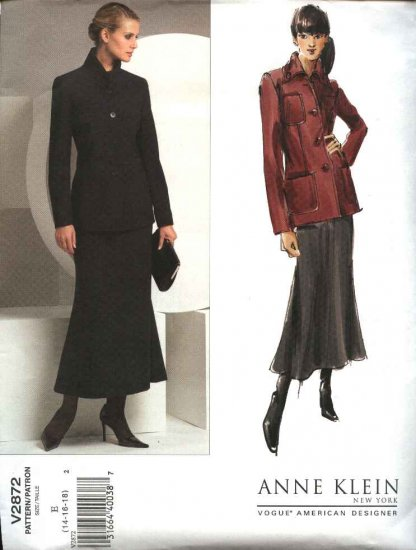 Vogue Sewing Pattern 2872 Misses Size 14-16-18 Anne Klein Jacket Skirt Suit