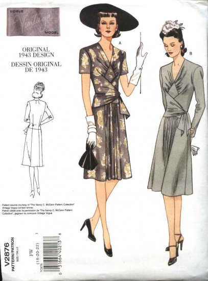 Vogue Sewing Pattern 2876 Misses Size 6-8-10 1940's Vintage Style Day Dress