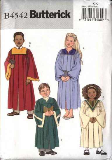 Butterick Sewing Pattern 4542 Boys Girls Childrens Size 3-4-5-6 (Xsmall-Small) Choir Robe Collar