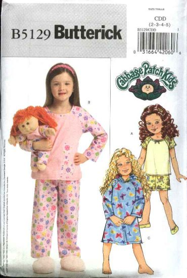Butterick Sewing Pattern 5129 Girls Size 2-5 Easy Top Dress Shorts Pants  Doll Clothes