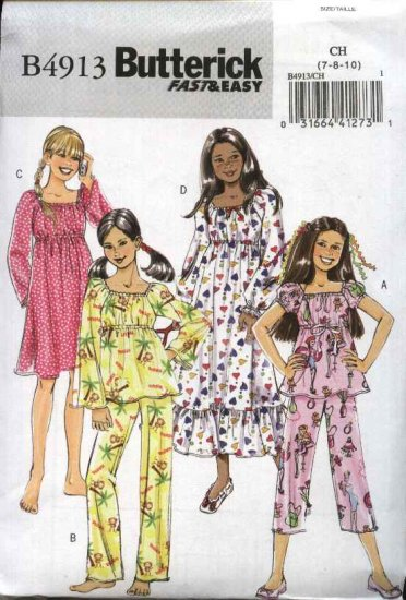 Butterick Sewing Pattern 4913 Girls Size 12-14-16  Easy Top Pants Gown Pajamas Nightgown