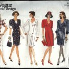 Vogue Sewing Pattern 2901 Misses Size 6-10 Basic Easy  Button Front Dress Top Skirt