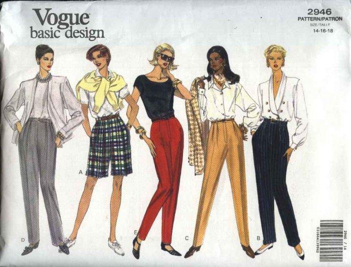 Vogue Sewing Pattern 2946 Misses size 14-16-18 Easy Classic Pants Shorts Slacks Trousers