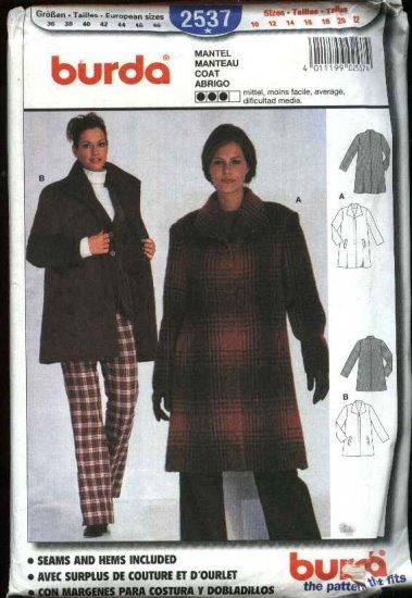 Burda Sewing Pattern 2537 Misses  Size 10-22 Winter Coat Jacket