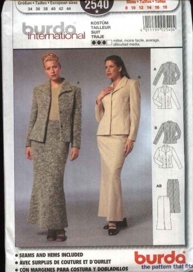 Burda International Sewing Pattern 2540 Misses Size 8 18