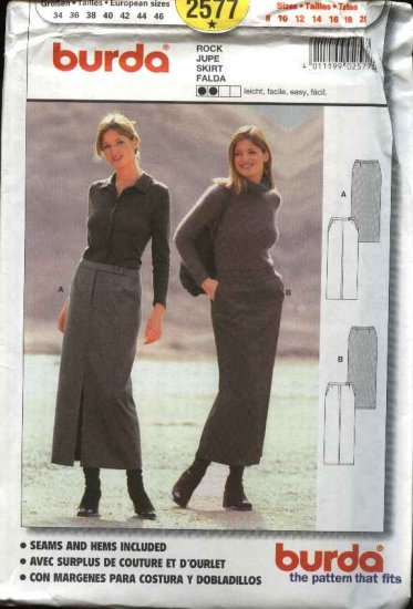Burda Sewing Pattern 2577 Misses Size 8-20 Easy Close-fitting Straight Skirt