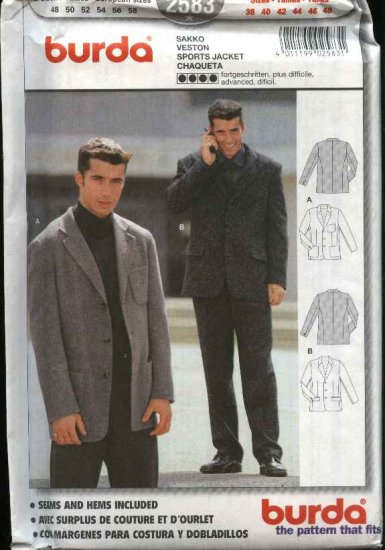 Burda Sewing Pattern 2583 Men's Size 38-48 Lined Sports Jacket Blazer