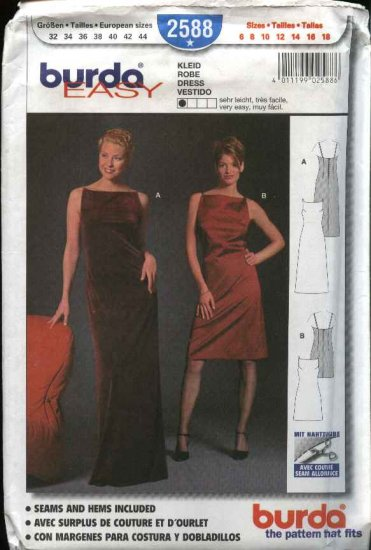 Burda Sewing Pattern 2588 Misses Size 6-18 Easy Long Short Formal Dress Evening Gown