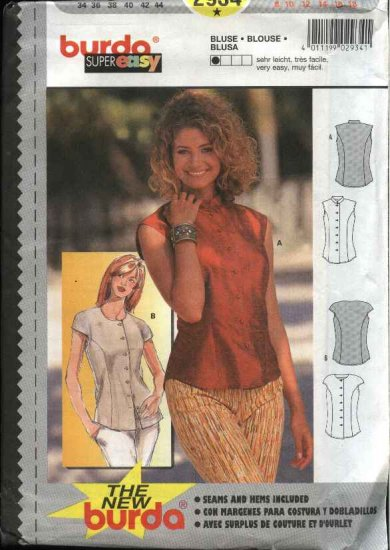 Burda Sewing Pattern 2934 Misses Size 8-18 Super Easy Blouse Top Shirt Button Front