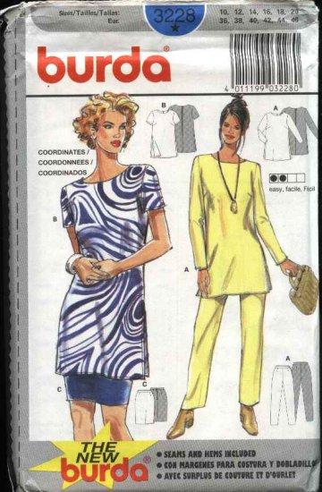 Burda Sewing Pattern 3228 Misses Size 10-20 Easy Wardrobe Top Pants Skirt Tunic