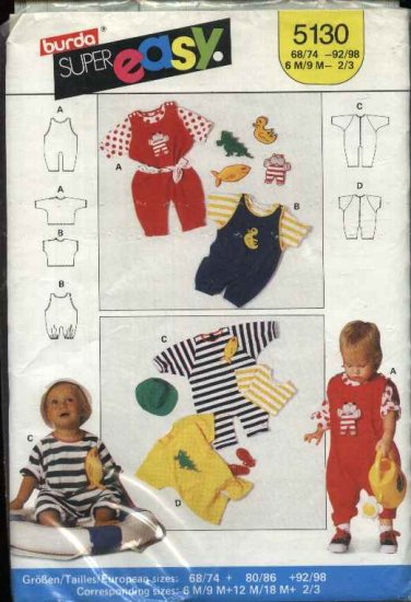 Burda Sewing Pattern 5130 Baby Child's Size 6m -3y  Easy  T-shirt Overalls Jumpsuit Romper Toys