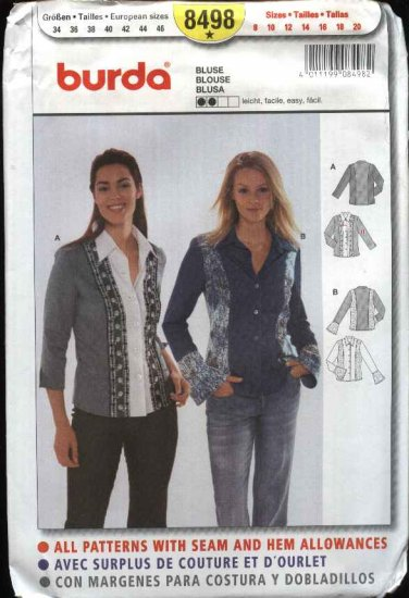 Burda Sewing Pattern 8498 Misses Size 8-20 Easy Color Blocked Shirt Blouse Top