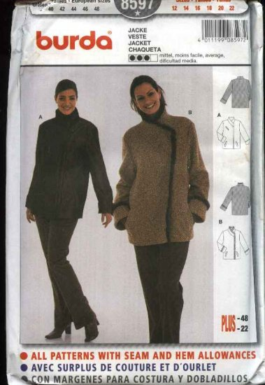 Burda Sewing Pattern 8597 Misses Size 12-22 Winter Lined Jacket