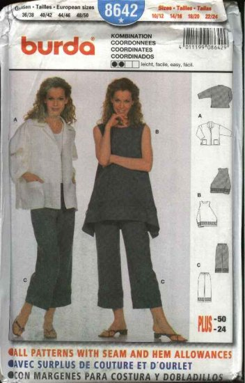 Burda Sewing Pattern 8642 Misses Sizes 10/12-22/24 Easy Jacket Top Capri Pants