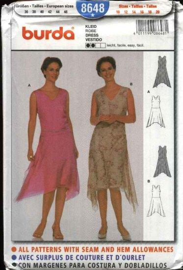Burda Sewing Pattern 8648 Misses Size 10-20 Easy Layered Dress Asymmetrical Hemline