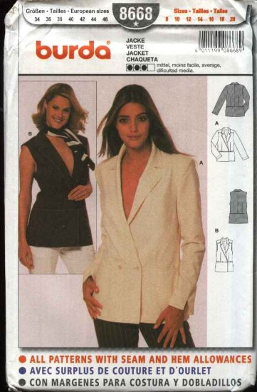 Burda Sewing Pattern 8668 Misses Size 8-20 Jacket Vest Top