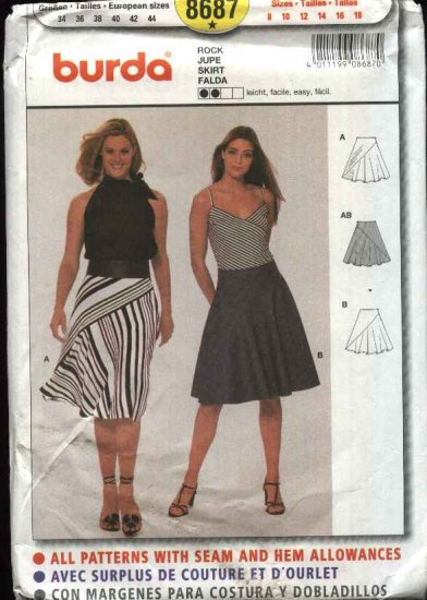 Burda Sewing Pattern 8687 Misses sizes 8-18 Easy Bias Fitted Skirt