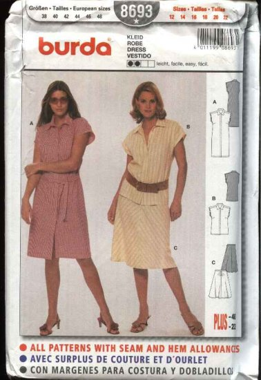 Burda Sewing Pattern 8693  Misses Size 12-22 Easy Button Front Dress Skirt Blouse Top