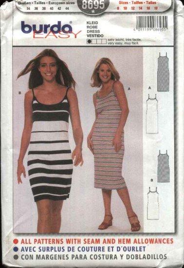 Burda Sewing Pattern 8695 Misses Size 8-18 Very Easy Summer Knit Dress