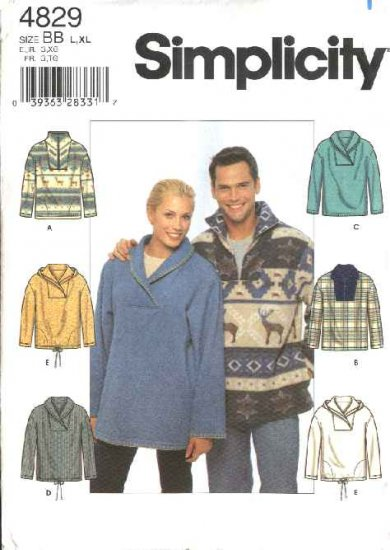 """Simplicity Sewing Pattern 4829 Misses Mens Size XS-M  Chest Size 30-40"""" Fleece Knit Tops"""