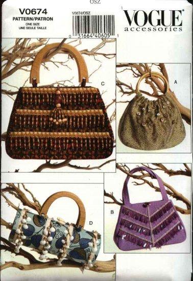 Vogue Sewing Pattern 0674 8216 Handbags Purse Bag Pocketbook Beaded Embellished