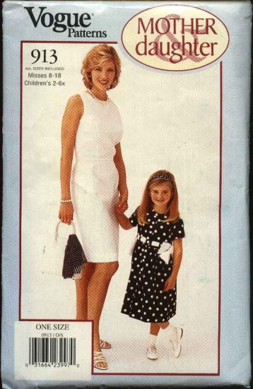 Vogue Sewing Pattern 913 Mother Daughter Dress Misses 8-18 Girls 2-6X