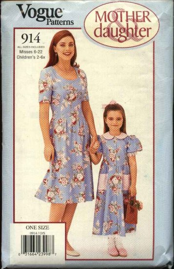 Vogue Sewing Pattern 914 Mother Daughter Dress All sizes Misses 6-22 Girls 2-6x