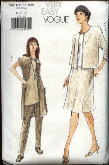 Vogue Sewing Pattern 7067 Misses Size 8-12 Easy Wardrobe Jacket Top Skirt Pants Vest