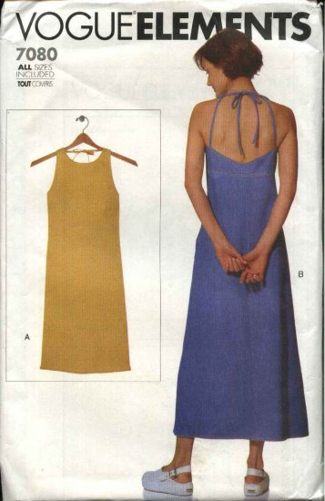 Vogue Sewing Pattern 7080 Misses Size 6-22 Easy Halter Sun Dress