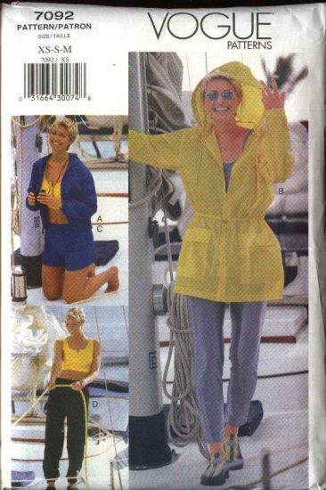 Vogue Sewing Pattern 7092 Misses Size 6-8-10-12-14 Wardrobe Jacket Crop Top Pants Unitard Shorts