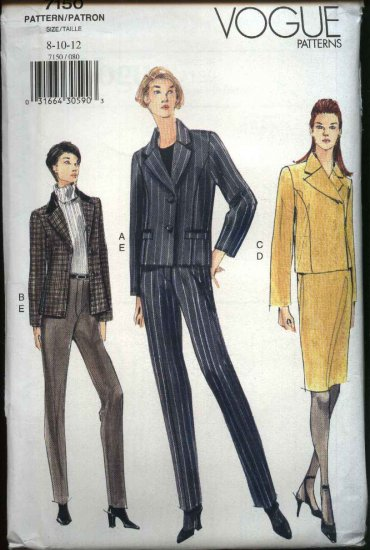Vogue Sewing Pattern V7150 7150 Misses Size 8-12 Easy Jackets Skirt Pants Wardrobe