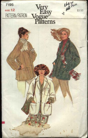 Vogue Sewing Pattern 7195 Misses Size 12 Easy Unlined Jacket