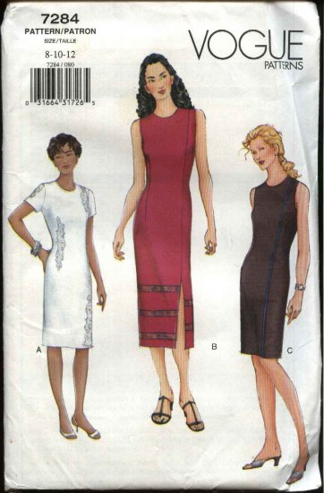 Vogue Sewing Pattern 7284 Misses Size 8-12 Easy Sheath Summer Dress