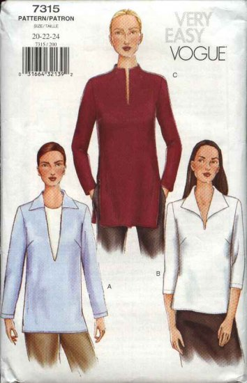Vogue Sewing Pattern 7315 Misses Size 20-22-24 Easy Loose Pullover Tunic Top