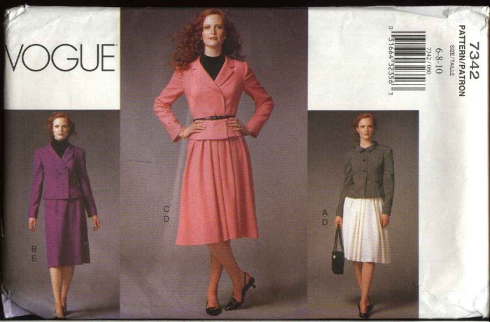 Vogue Sewing Pattern 7342 Misses Size 6-10 Jackets Skirts Suit