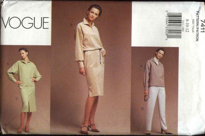 Vogue Sewing Pattern 7411 Misses Size 8-12 Easy Dress Top Pants Skirt Wardrobe