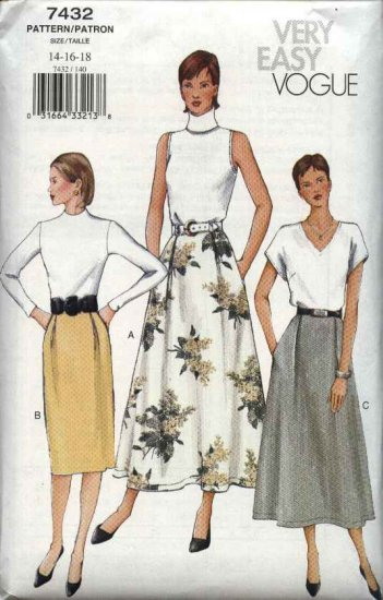 Vogue Sewing Pattern 7432 Misses Size 8-10-12 Easy Straight  Flared Skirt