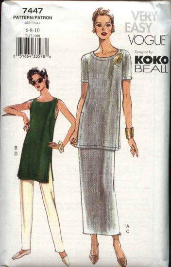 Vogue Sewing Pattern 7447 Misses Size 6-8-10 Easy Koko Beall Tunic Skirt Pants Wardrobe