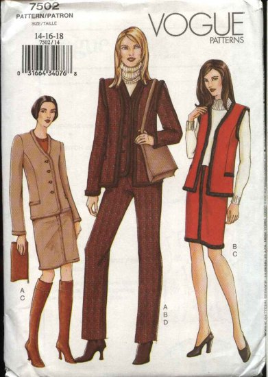 Vogue Sewing Pattern 7502 V7502 Misses Size 14-18 Jacket Vest Skirt Pants Wardrobe