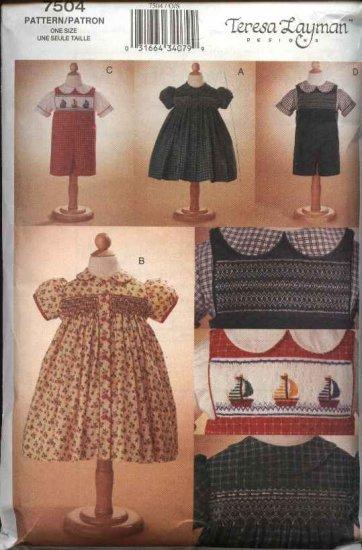 Vogue Sewing Pattern 7504 Toddler Girls Boys Size 1-4 Teresa Layman  Dress Shirt Overalls Smocking