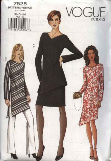 Vogue Sewing Pattern 7525 Misses Size 20-22-24 Easy Dress Tunic Skirt Pants Top Wardrobe