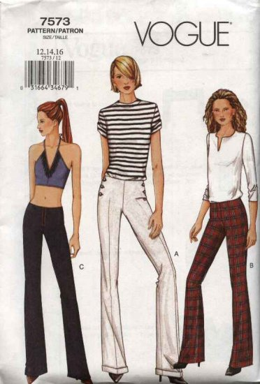 Vogue Sewing Pattern 7573 Misses Size 6-8-10 Easy Fitted Low-rise Bell Bottom Pants