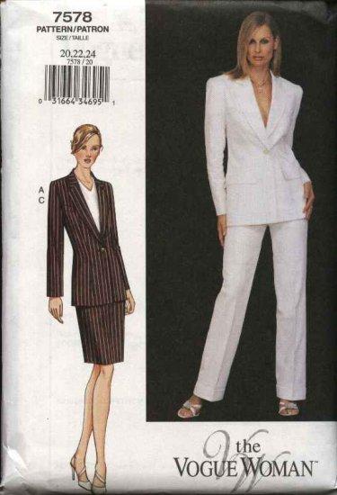 Vogue Woman Sewing Pattern 7578 Misses Size 8-10-12 Suit Jacket Skirt Pants