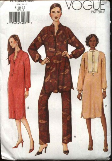 Vogue Sewing Pattern 7506 Misses Size 8-10-12 Easy Dress Tunic Pants Loose fitting
