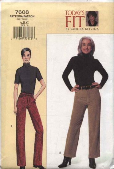 Vogue Sewing Pattern 7608 Misses Size 10-14 Betzina Straight Jeans Pants