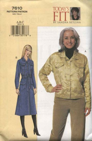 Vogue Sewing Pattern 7610 Womens Plus Size 24W-32W Sandra Betzina Blue Jean Jacket Coat