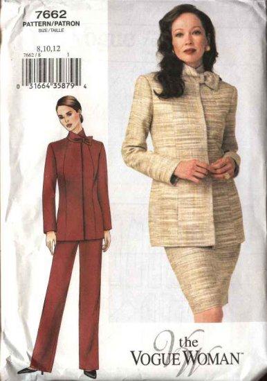 Vogue Woman Sewing Pattern 7662 Misses Size 8-10-12 Jacket Skirt  Pants Suit Pantsuit
