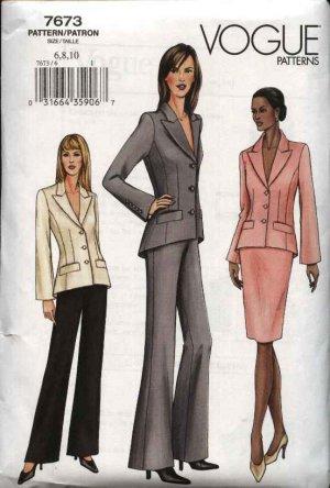 Vogue Sewing Pattern 7673 Misses Size 6-8-10 Suit Jacket Skirt Pants Pantsuit